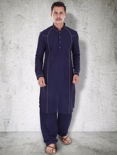 G3 Exclusive Navy Festive Wear Solid Linen Mens Pathani Suit