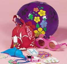 Hula Girlz - Luau Filled Treat Bags  Funky Hibiscus bag filled with cool luau themed gifts!  Each drawstring tote contains 9 gift items