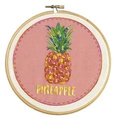DIY Embroidery Kit of a Pineapple, only 3 stitches to learn, so perfect for a beginner who wants to learn embroidery and create a modern piece of DIY hoop art. A great beginner embroidery kit for anyone who loves pineapples.// Nog Pepper Me Diy Embroidery Kit, Learn Embroidery, Modern Embroidery, Embroidery For Beginners, Embroidery Patterns, Pineapple Embroidery, Fabric Crafts, Diy Crafts, John James