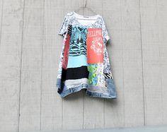 Tshirt Dress, Zebra, Animal, Safari Swing, Loose Fit, Upcycled Clothing, Summer Dress, Tunic, Upcycled Dress, Blue, Romantic, Boho, Aline