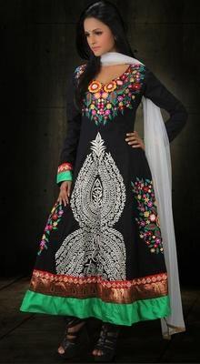 Black Pakistani Anarkali Chudidar Kameez # Indian Dresses Online # Salwar Kameez