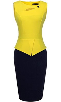 HOMEYEE Women's Elegant Chic Bodycon Formal Dress Yellow + Black): Sleeveless Size Information(just for reference):/b br brSize br brSize br brSize br brSize br brSize b. Floral Evening Dresses, Elegant Dresses, Formal Dresses, Mode Outfits, Dress Outfits, Fashion Outfits, Maxi Dresses, African Fashion Dresses, African Dress