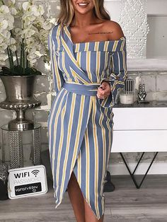 Shop Striped Irregular One Shoulder Shirt Dress – Discover sexy women fashion . - Shop Striped Irregular One Shoulder Shirt Dress – Discover sexy women fashion at Boutiquefeel Source by dilber_sardas - Look Fashion, Womens Fashion, Fashion Design, Ladies Fashion, Feminine Fashion, Fashion Ideas, Fashion Styles, Trendy Fashion, Fashion Inspiration