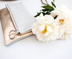 Champagne Leather Clutch Gold Fold Over Clutch by gmaloudesigns
