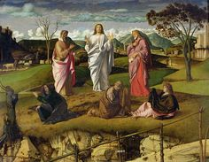 TheTransfiguration painted 1478-79, by Giovanni-Bellini, 1430-1516, Italian Renaissance painter. Museo di Capodimonte, Naples, Italy.