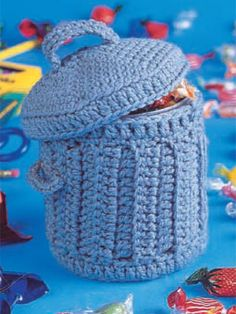 Miscellaneous Crochet - Misc. Crochet Gift Patterns - Trash Can Tutorial ༺✿ƬⱤღ https://www.pinterest.com/teretegui/✿༻