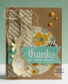 C4C219 - Thanks So Very Much, feather, woodgrain, kraft gold turq