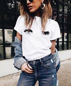 eye lashes white shirt jeans denim jacket necklaces earrings glasses