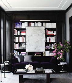 18 Kerut: Decorating With Books- black walls