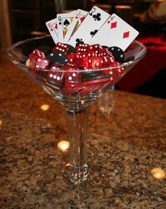 martini glass decor bacon wrapped food roulette shot glasses red carnation topiary bathroom signs cards on glasses Casino Party Casino Party Foods, Casino Night Party, Casino Theme Parties, Party Themes, Birthday Parties, Party Ideas, 30th Party, 40th Birthday, Theme Ideas