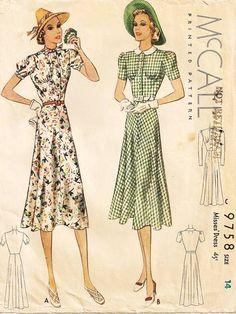 McCall 9758   1930s Misses' Dress