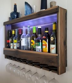 Wine Rack made with Weathered Cedar – Wall Mounted and Lighted Liquor Cabinet with LED Lights - Pallet Furniture Project Rustic Wine Cabinet, Rustic Wine Racks, Cedar Walls, Battery Operated Led Lights, Wine Rack Wall, Wine Wall, Home Bar Designs, Glass Rack, Modern Bar
