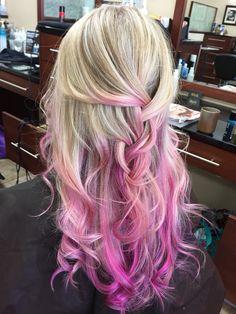 Baby pink, magenta, lavender blonde hair - me :) Pink Hair Tips, Pink Blonde Hair, Pink Ombre Hair, Neon Hair, Hair Color Pink, Hair Color And Cut, Hair Dye Colors, Violet Hair, Dipped Hair