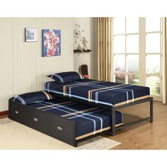 Kings Brand Furniture Black Metal Twin Size Day Bed Frame with Roll Out Trundle & Mattresses Metal Daybed With Trundle, Trundle Bed Frame, Trundle Bed With Storage, Twin Bunk Beds, Day Bed Frame, Basement Guest Rooms, Kids Toddler Bed, Bed Sizes, Bed Design