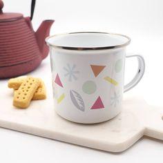 Patterned Enamel Mug // Scandinavian Inspired Mug // Camping