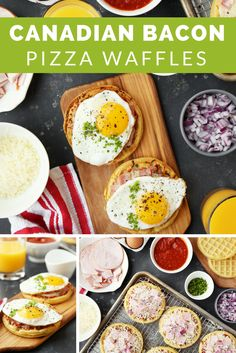 Canadian Bacon Breakfast Pizza Waffles