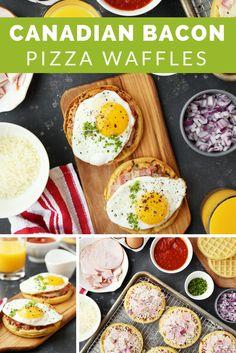 Canadian Bacon Breakfast Pizza Waffles