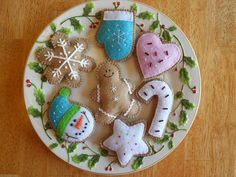 Christmas Felt Ornament  Snowman Cookie Set by GingerSweetCrafts, $25.99