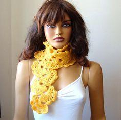 Hand Crochet Yellow Lace Women Scarf Fall Winter by RoseAndKnit