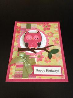 Birthday card. Owl is from Cricut Create a Critter cartridge