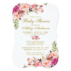 Pink Blush Gold Floral Baby Shower Invitation B