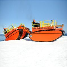 The Coast Guard constantly looks to improve its capabilities. Here, Arktos Developments displays their amphibious Arctic craft, with heavy tank-style treads that can move through snow. Snow Vehicles, Amphibious Vehicle, Snow Machine, Automobile, Bug Out Vehicle, Us Coast Guard, Expedition Vehicle, Transporter, Chenille