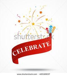 Celebration ribbon with fireworks