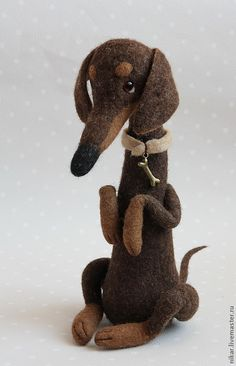 """Купить Таксик """"Шнурок"""" собачка из шерсти - коричневый, такса, собака такса, авторская собака"""