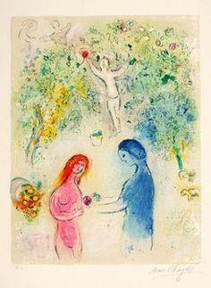 Marc Chagall-Dafne e Cloé - Frontispício, 1961; litografia em cores sobre papel (56,3 x 38,2 cm). Imagem: Nicolas Wilmouth