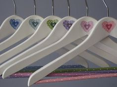 I think we'd have to use fabric Hanger Crafts, Plastic Bag Holders, Arts And Crafts, Diy Crafts, Coat Hanger, Painting Patterns, Shabby Chic Decor, Home Deco, Decoupage