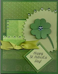 Love how all the different shades of green go together on this handmade st patrick's card with a shamrock and some bling