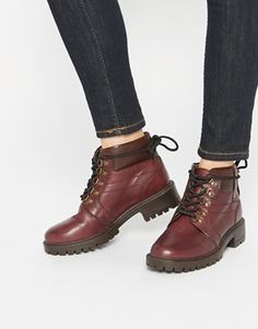 ASOS AMBIENT Leather Hiker Lace Up Boots