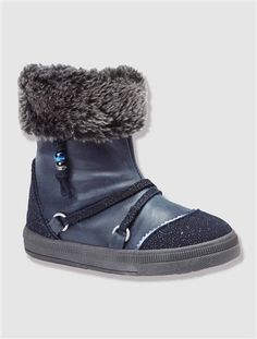 Girl's Furry Boots with Strap Navy+Sand