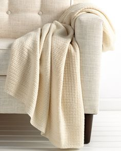 """Sofia Cashmere """"Waffle"""" Ivory Knit Throw is on Rue. Shop it now."""