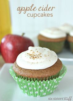 These cupcakes have all the flavor of apple cider and are perfect for this time of year. If you use fresh apple cider, they taste even more amazing! Top them off with some apple cider frosting and you are good to go! Apple Recipes, Fall Recipes, Baking Recipes, Spiced Cider, Apple Cider, Fall Desserts, Just Desserts, Mini Cakes, Cupcake Cakes