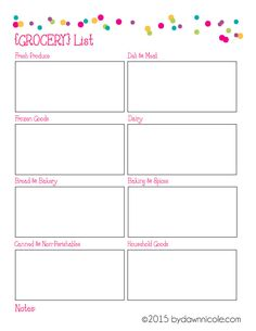Organizational Printables: Meal Plan & Grocery List | bydawnnicole.com
