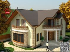 Village House Design, House Front Design, Tiny House Design, Modern House Design, Dream House Exterior, Exterior House Colors, New House Plans, Dream House Plans, House Design Pictures