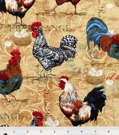 Novelty Cotton Fabric-Rooster Collage at Joann.com