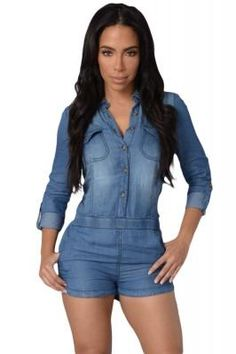 Overalls For Women Elegant Country Way Denim Shirt Sexy Short Rompers Womens Jumpsuit With Pockets Combinaison Femme Denim Overall Shorts, Long Sleeve Denim Jumpsuit, Denim Romper, Short Playsuit, Playsuit Romper, Rompers Women, Jumpsuits For Women, Black Denim Shirt, Dark Denim