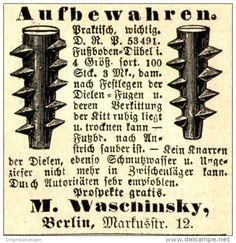 Original-Werbung/ Anzeige 1897 - FUSSBODEN - DÜBEL / WASCHINSKY - BERLIN - ca…