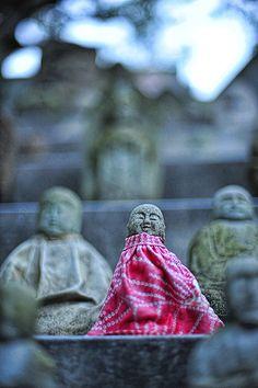 Jizo statues at Sumadera temple, Kobe, Japan