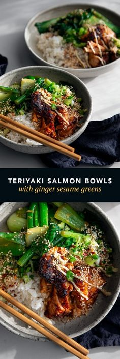 Teriyaki Salmon Bowls with Ginger Sesame Greens & Coconut Rice - - These flavour-packed bowls make the perfect quick and easy dinner! Grilled Teriyaki Salmon, Teriyaki Glazed Salmon, Ginger Salmon, Salmon And Rice, Salmon Rice Bowl Recipe, Teriyaki Bowl, Easy Salmon Recipes, Seafood Recipes, Asian Recipes