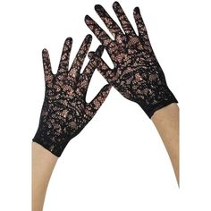 Black Vintage Lace Fancy Wedding Wrist Gloves ($16) ❤ liked on Polyvore featuring accessories, gloves, black, fingerless, long fingerless gloves, fingerless gloves, fancy gloves, dressy gloves and long formal gloves