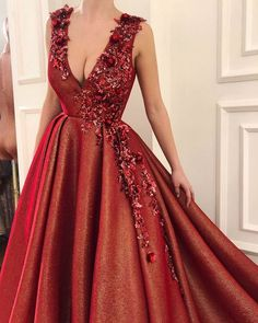 Red Appliques Ball Gown Prom Dress, Sweet 16 Dresses,Quinceanera Dresses