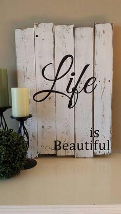 Reclaimed wood wall art  Life is beautiful  от TinHatDesigns