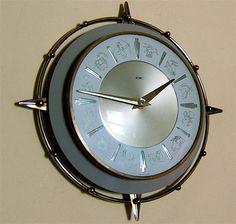 Super Vtg 1960s ATOMIC METAMEC Horoscope wall CLOCK Eames Era Starburst Sputnk | eBay