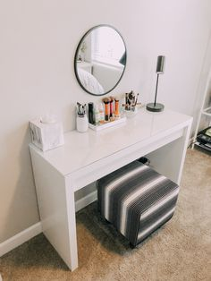 MALM Dressing table, white, 47 It's really a dressing table – with space for makeup and jewelry inside. Room Ideas Bedroom, Ikea Bedroom, Desk In Bedroom, Bedroom Decor For Small Rooms, Spare Bedroom Dressing Room Ideas, Adult Room Ideas, Bedroom Ideas For Small Rooms, Ikea Room Ideas, Diy Bedroom Decor For Teens