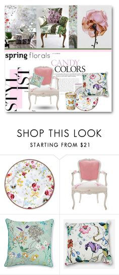 """""""#Spring Florals Interior Chic"""" by nikkisg ❤ liked on Polyvore featuring interior, interiors, interior design, home, home decor, interior decorating, PiP Studio, Antique, Versace and springflorals"""