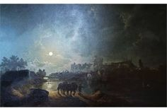 Henry Pether (1800-1865) Oil painting Moonlit scene of Windsor Castle from across the river