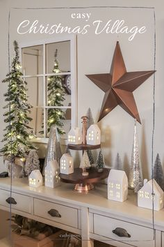 Create this simple and affordable white Christmas village idea with items from Target Dollar Spot. Cozy up your entryway and welcome your friends and family for the holidays! #targetdollarspot #christmas village #white christmas village #christmas house village Target Christmas Decor, Christmas Side, Christmas Village Display, Christmas Village Houses, Christmas Decorations For The Home, After Christmas, Christmas Villages, Rustic Christmas, Simple Christmas